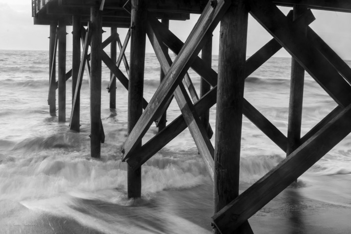 Pier in Black and White by Laura Hardesty